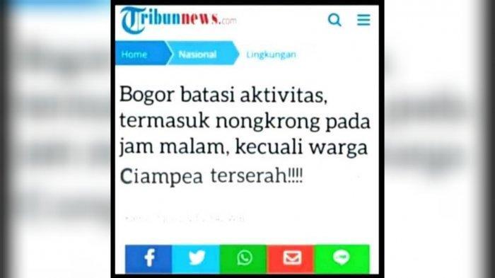 Beredar meme kocak edit judul berita yang berisi protes sejumlah warga Bogor yang meminta pengecualian terkait pembatasan sosial yang diberlakukan pemerintah.