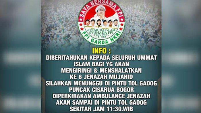 Beredar Ajakan Massa Sambut Kedatangan 6 Jenazah Diduga Pengikut HRS di Puncak Bogor