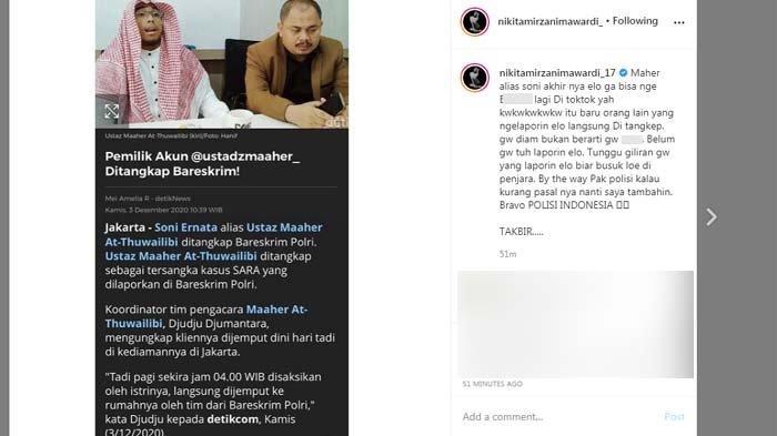 Nikita Mirzani menanggapi kabar penangkapan Ustaz Maaher