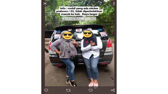 Beredar Foto Mobil Berstiker Capres Prabowo-Sandi Dilarang Masuk KRB, Ini Penjelasan Manajemen