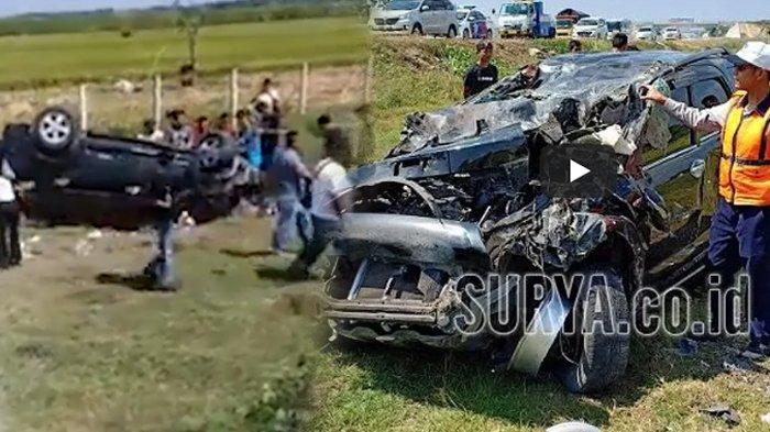 Pecah Ban, Mobil Pemudik Terguling dan Masuk ke Parit di Tol Ngawi-Kertosono