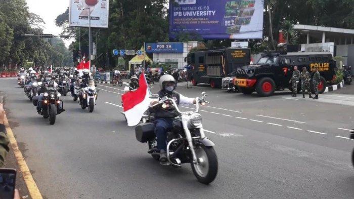 Peringatan Hari Kemerdekaan 17 Agustus, Rombongan Moge Keliling Kota Bogor Bawa Bendera Merah Putih