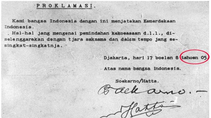 Kenapa Angka Tahun Dalam Teks Proklamasi Ditulis 05 Bukan 1945 Ini Penjelasannya Halaman All Tribunnews Bogor