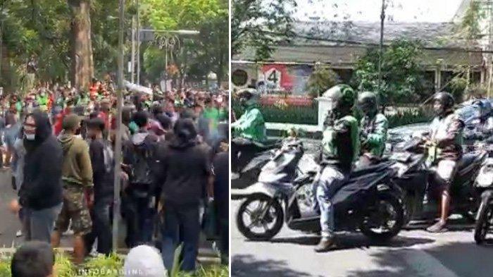 VIDEO Warga Demo Kepung Balai Kota Bandung, Ribuan Ojol Konvoi Keliling Kota : Kami Harus Makan !
