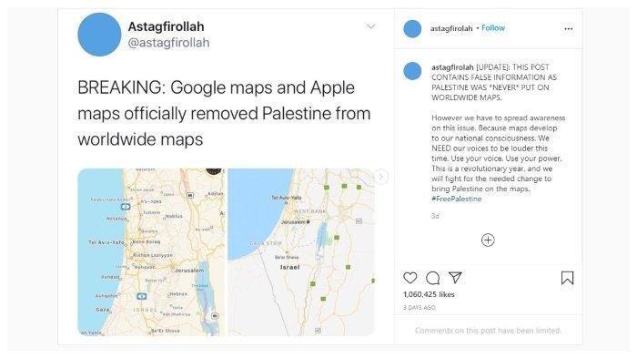 Viral #FreePalestine Pasca Palestina Dihapus dari Peta, Google dan Apple Banjir Kritik Sindir Israel