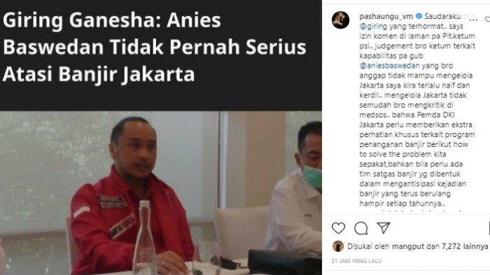 Pasha bela Anies yang dikritik Giring soal penangangan banjir di Jakarta