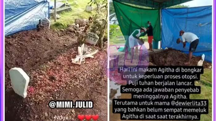 pembongkaran makam anak Erlita Dewi yang dianggap meninggal tak wajar
