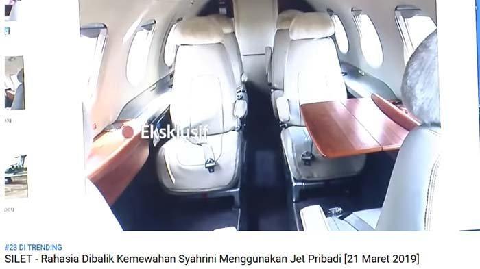 penampilan bagian dalam private jet yang kerap dicarter Syahrini