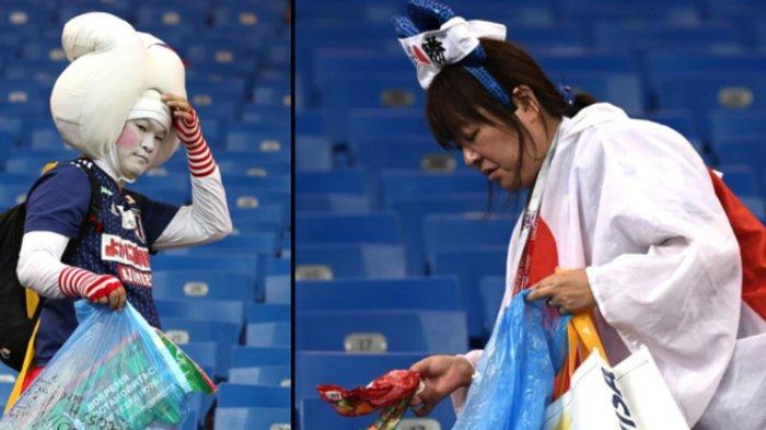 Disingkirkan Belgia di Piala Dunia 2018, Pendukung Jepang Tetap Bersihkan Sampah di Tribun Stadion