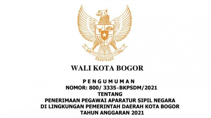 Pengumuman formasi CPNS Kota Bogor 2021.