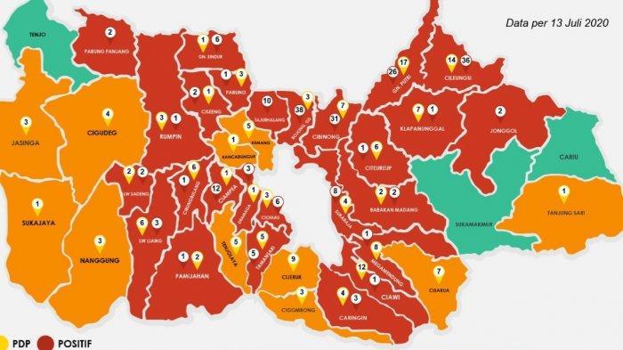 Daftar Zona Merah Corona Kabupaten Bogor 13 Juli 2020, Kasus Positif Terbanyak di Bojonggede