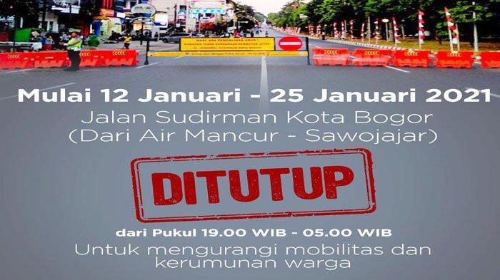 PPKM di Kota Bogor, Jalan Jenderal Sudirman Ditutup Pukul 19.00-05.00 WIB