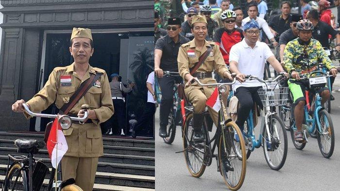 FOTO - Usai Pimpin Upacara Peringatan Hari Pahlawan, Jokowi Sepedahan bareng Ridwan Kamil di Bandung