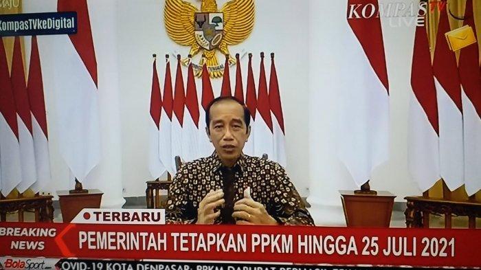 Presiden Jokowi umumkan perkembangan PPKM Darurat.