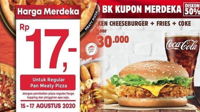 5 Promo Makanan 17 Agustusan 2020 - Burger King, CFC hingga Pizza Hut