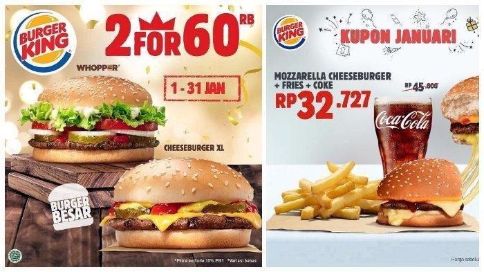 Promo Burger King Januari 2019 - Beli 2 Burger Super Besar Cuma Rp 60 Ribu, Ini Ketentuannya