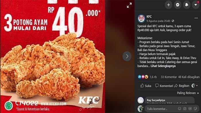 Promo KFC Terbaru Agustus 2020 - Super 7 Hari Spesial Gajian, 7 Potong Ayam Mulai Rp 83 Ribuan