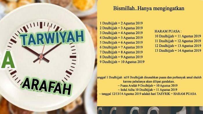 Idul Adha 2019 : Bacaan Niat Puasa Tarwiyah dan Puasa Arafah Besok 8 - 9 Dzulhijjah
