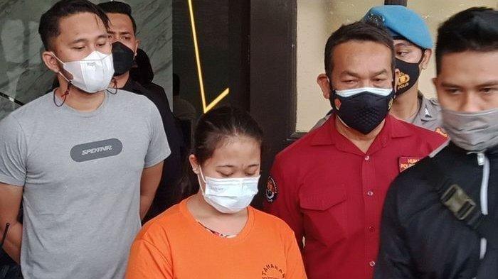R saat dihadirkan dalam konferensi pers di Mapolrestabes Bandung, Jumat (26/2/2021). Dia mengaku diperkosa setelah membunuh majikannya sendiri.