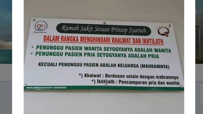 RSUD Kota Tangerang Terapkan Prinsip Syariah, Imbau Pasien Ditunggui Mahramnya, Dinkes Angkat Bicara