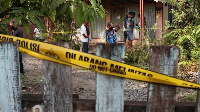 Rumah lokasi ditemukannya mayat perempuan di Banjarmasin, Rabu (2/6/2021).