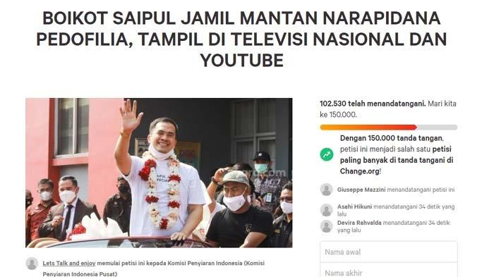 Petisi boikot Saipul Jamil ditandatangani lebih dari 102 ribu orang