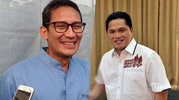 Pertama Kali Sejak Pilpres 2019, Sandiaga Uno Bertemu Erick Thohir