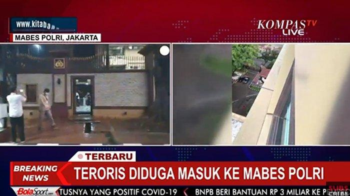 Tergeletak Pasca Baku Tembak, Terduga Teroris Berpakaian Hitam Diduga Masuk Mabes Polri Lewat Sini