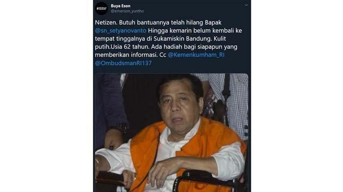 Setya Novanto Diisukan Hilang dari Lapas Sukamiskin, Kemenkumham Beri Penjelasan