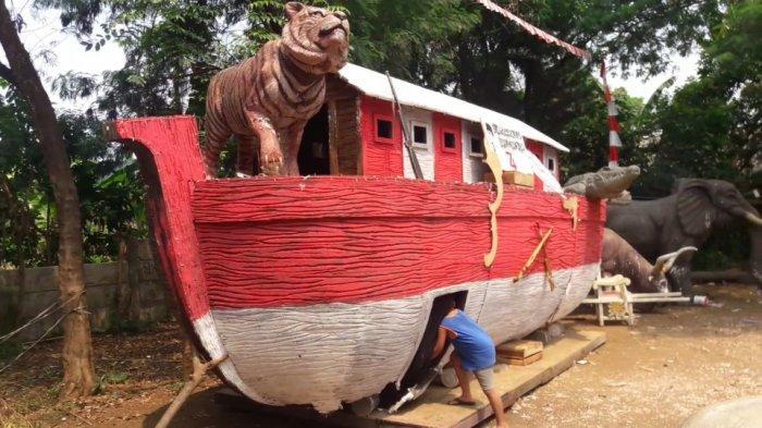 Sisa Perayaan HUT RI, Anak-Anak Di Cipambuan Bogor Punya Tempat Main Baru Kapal Merah Putih