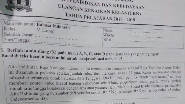 Atta Halilintar Jadi Soal Ujian SD, Dinas Pendidikan Kota Serang Protes Keras, Sebut Tidak Relevan