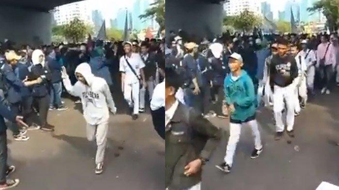 Video Barisan Pelajar Disambut Massa Mahasiswa yang Demo di DPR, Anak Jokowi Ikut Merespons