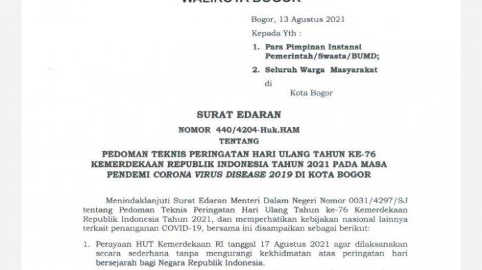 Bima Arya Keluarkan Surat Edaran Agar Warga Kota Bogor Tak Gelar Perlombaan di Hari Kemerdekaan