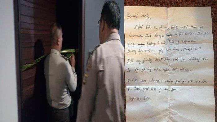 Seorang Pria Asal Jakarta Bunuh Diri di Bali, Tulis Surat Wasiat : Tolong Jaga Anak-anak Kita
