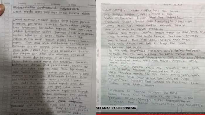surat wasiat pelaku teror di Gereja Makassar (kanan) dan Mabes Polri (kiri)