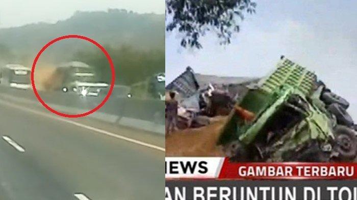 2 Video Kengerian Kecelakaan di Tol Cipularang, Detik-detik Truk Tabrak Mobil Sampai Terbakar