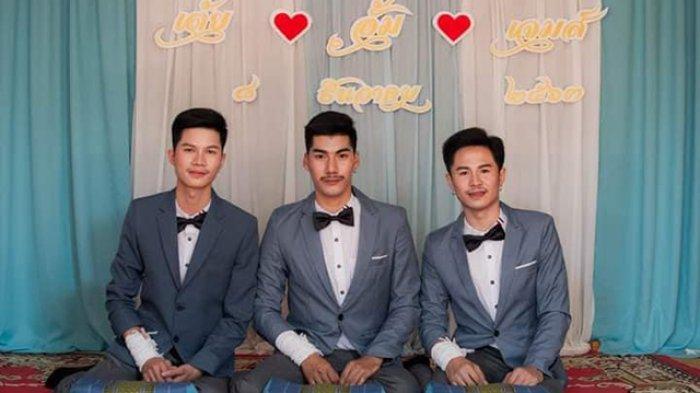 Viral Pernikahan 3 Pria di Thailand, Janji Sehidup Semati Sebagai Suami Istri, Ibunda Tak Melarang