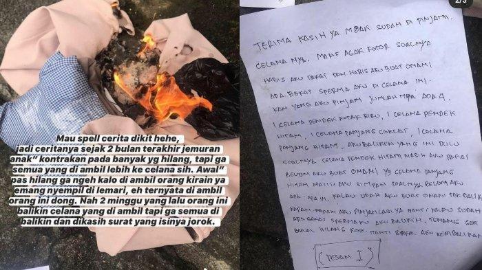 Viral Cerita Anak Kos Jadi Korban Pencuri Celana Dalam, Netizen Emosi Baca Surat yang Ditulis Pelaku