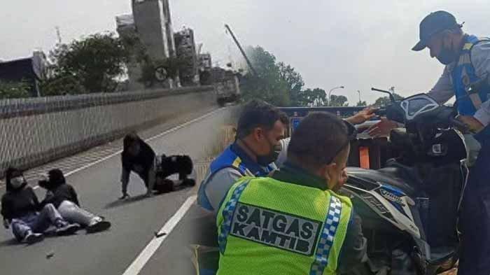 Detik-detik Perempuan Tak Pakai Helm Boncengan 3 di Jalan Tol Alami Kecelakaan, Videonya Viral