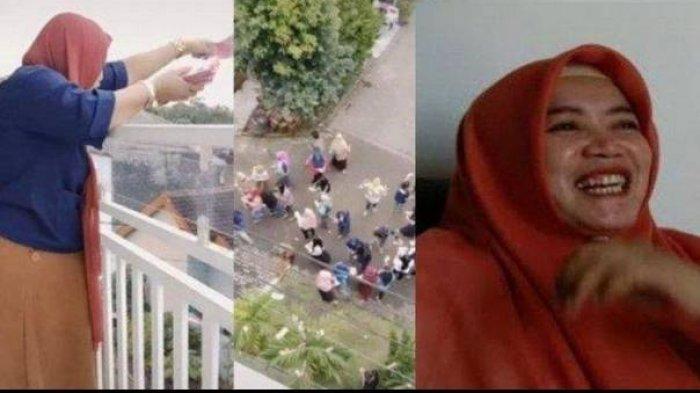 Viral Bagi-bagi Uang THR Rp 100 Juta Lewat Balkon, Ini Sosok Mutoharoh, Bukan Wanita Sembarangan
