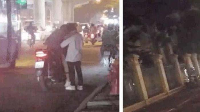 Viral di Medsos, Sepasang Kekasih Kepergok Ciuman Mesra di Pinggir Jalan