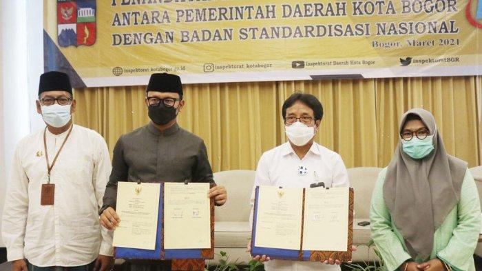 Wali Kota Bogor, Bima Arya membuka Pelatihan ISO 37001 : 2016 tentang Sistem Manajemen Anti Penyuapan Bidang Pengawasan di Sahira Hotel, Jalan Ahmad Yani, Tanah Sareal, Kota Bogor, Senin (22/3/2021).