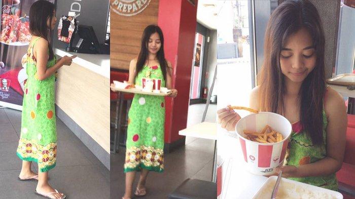 Wanita Ini Percaya Diri ke KFC Pakai Daster dan Sandal Jepit, Alasannya Tak Disangka!