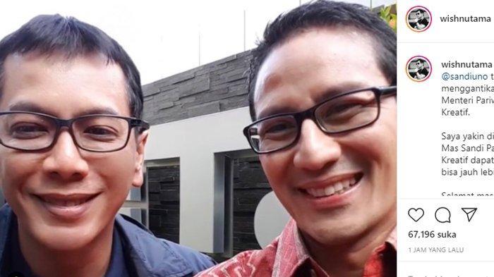 Sandiaga Uno Terpilih Jadi Menteri Pariwisata dan Ekonomi Kreatif, Wishnutama Ucap Selamat