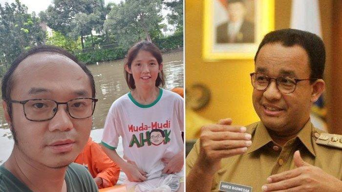 Naik Perahu Karet di Tengah Banjir, Yunarto Wijaya Pamer Foto Istri Pakai Baju Ahok: Sore Pak Anies