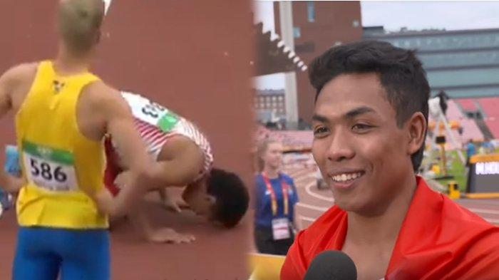 Sujud Usai Cetak Sejarah, Ini Sosok Lalu Muhammad Zohri Pelari yang Juarai 100 Meter Atletik Dunia