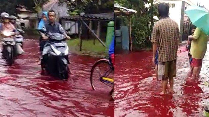Heboh, Pekalongan Diterjang Air Banjir Berwarna Merah Darah, Diduga Ini Penyebab Warna Air Berubah