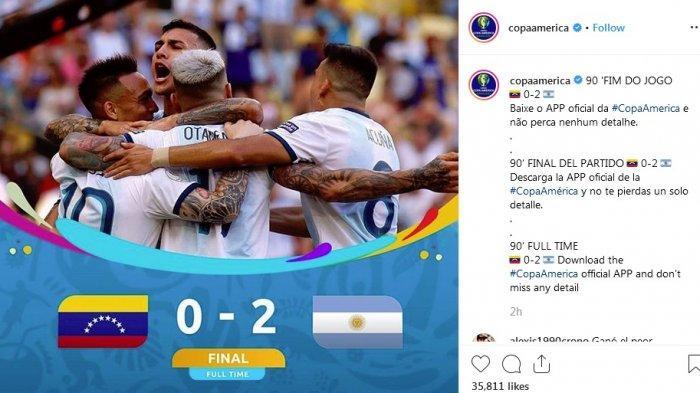 Hasil Copa America 2019 - Tekuk Venezuela, Tim Tango Argentina Bakal Bertemu Brasil di Semifinal
