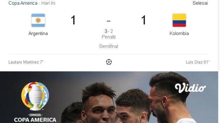 COPA America 2021, Argentina Bertemu Brasil di FInal, Kalahkan Clolombia 3-2 Lewat Adu Penalti