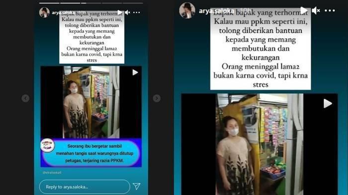 Arya Saloka pemeran Mas Al di sinetron Ikatan Cinta turut menanggapi video viral seorang ibu-ibu menangis saat warungnya diminta ditutup ketika terjaring razia PPKM.